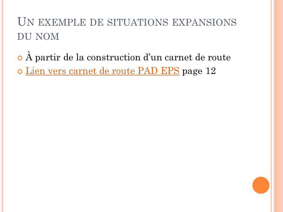 U N EXEMPLE DE SITUATIONS EXPANSIONS DU NOM À partir de la construction dun carnet de route Lien vers carnet de route PAD EPS page 12 Lien vers carnet de route PAD EPS