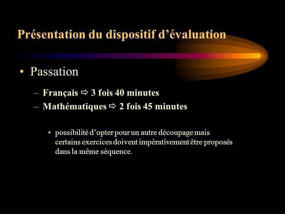 Présentation du dispositif dévaluation Codage limité à 3 options : –1 résultat attendu, réponse correcte –0 résultat faux, non réponse –A absence de l