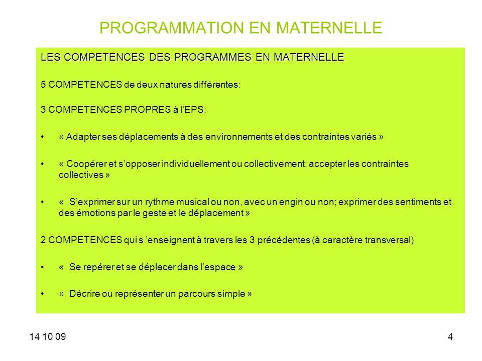 14 10 094 PROGRAMMATION EN MATERNELLE LES COMPETENCES DES PROGRAMMES EN MATERNELLE 5 COMPETENCES de deux natures différentes: 3 COMPETENCES PROPRES à