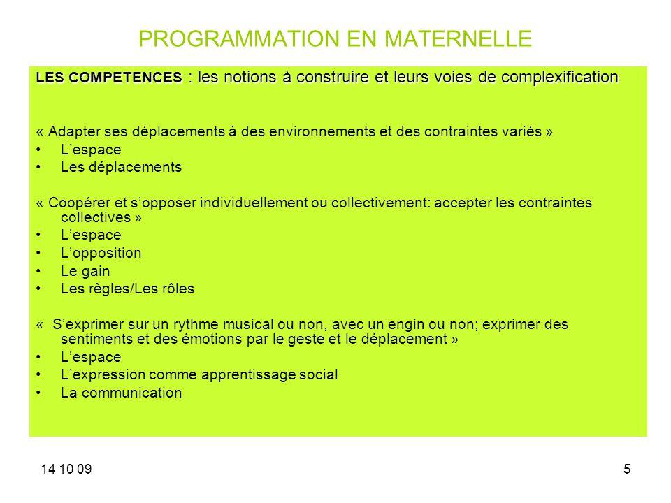 14 10 095 PROGRAMMATION EN MATERNELLE LES COMPETENCES : les notions à construire et leurs voies de complexification « Adapter ses déplacements à des e