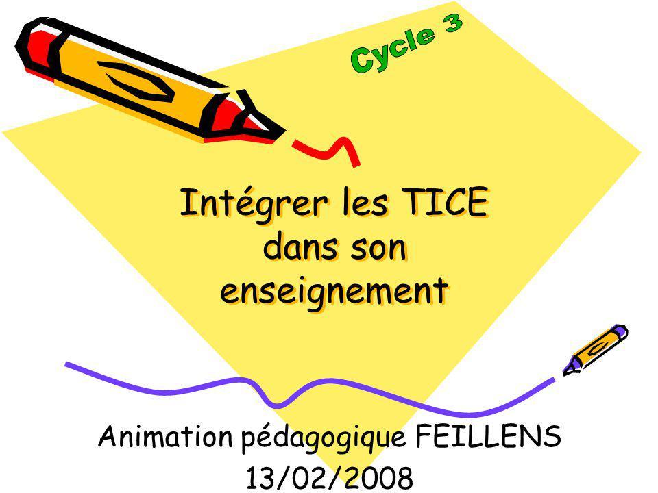Intégrer les TICE dans son enseignement Animation pédagogique FEILLENS 13/02/2008