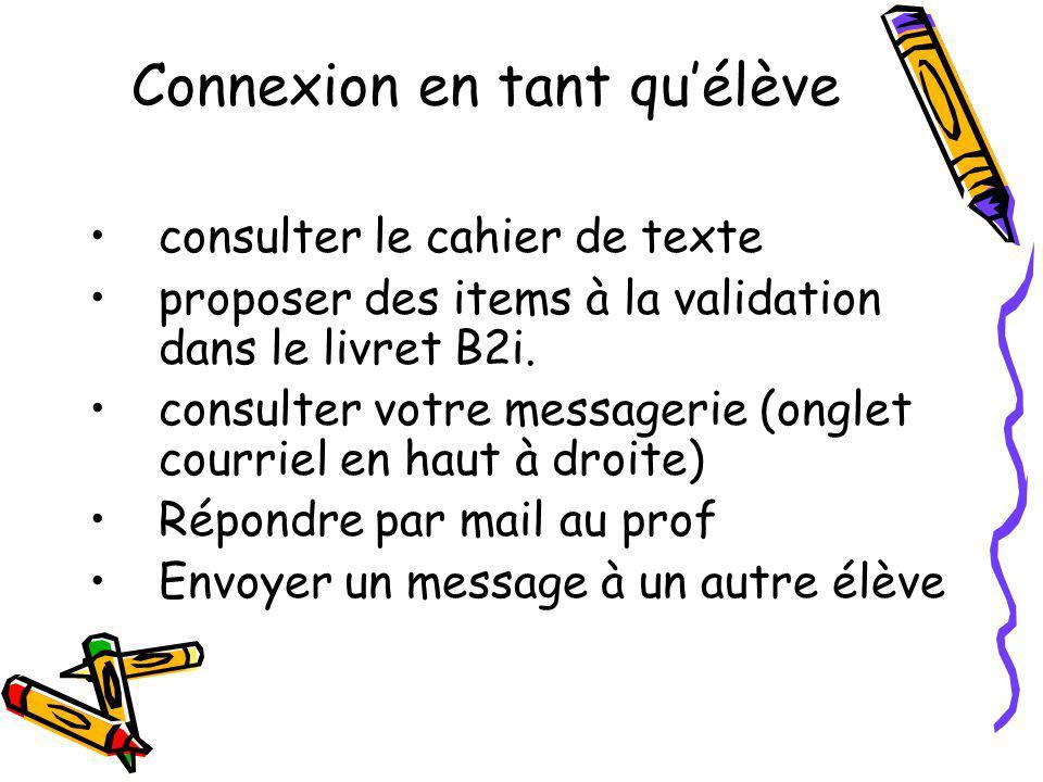Connexion en tant quélève consulter le cahier de texte proposer des items à la validation dans le livret B2i. consulter votre messagerie (onglet courr