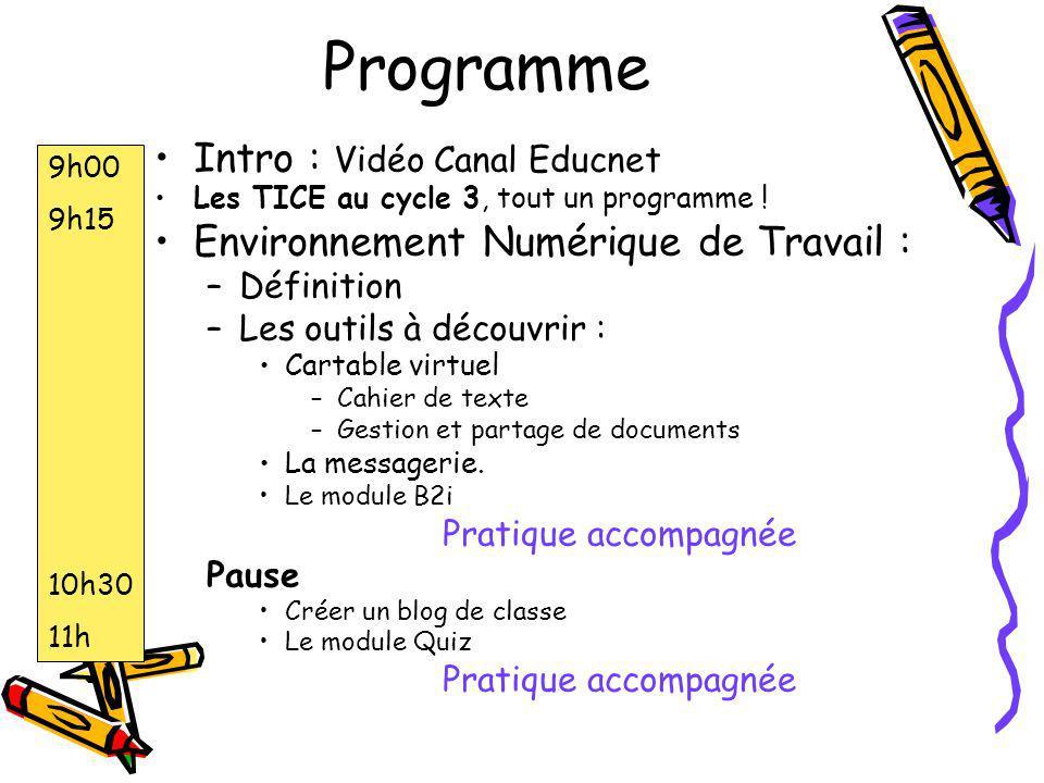 Programme Intro : Vidéo Canal Educnet Les TICE au cycle 3, tout un programme ! Environnement Numérique de Travail : –Définition –Les outils à découvri