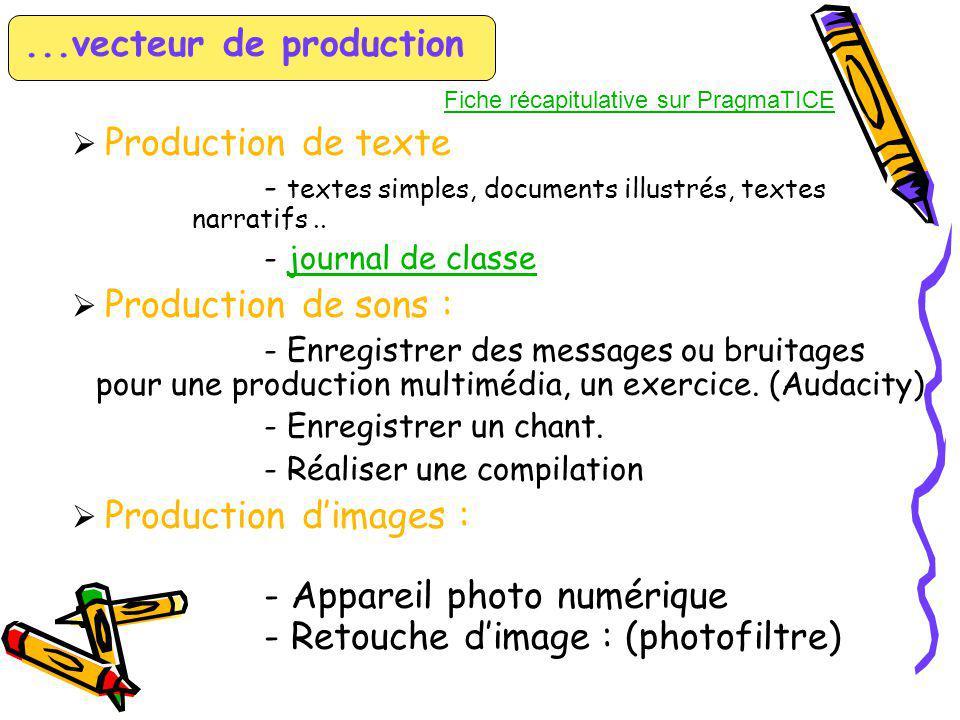 ...vecteur de production (suite) Production de vidéos : - Extraire des séquences vidéo pour créer un film ou les intégrer à une production multimédia.