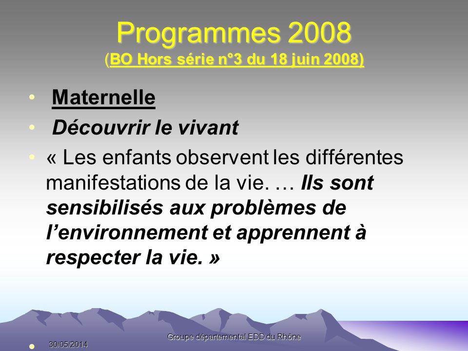 Programmes 2008 (BO Hors série n°3 du 18 juin 2008) Maternelle Découvrir le vivant « Les enfants observent les différentes manifestations de la vie. …