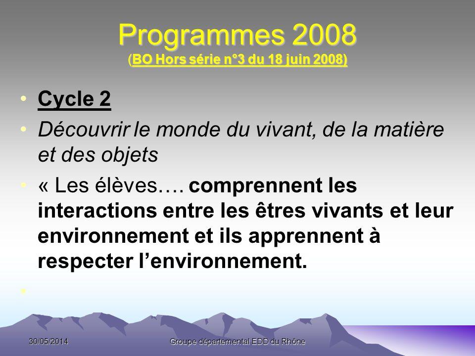 Programmes 2008 (BO Hors série n°3 du 18 juin 2008) Cycle 2 Découvrir le monde du vivant, de la matière et des objets « Les élèves…. comprennent les i
