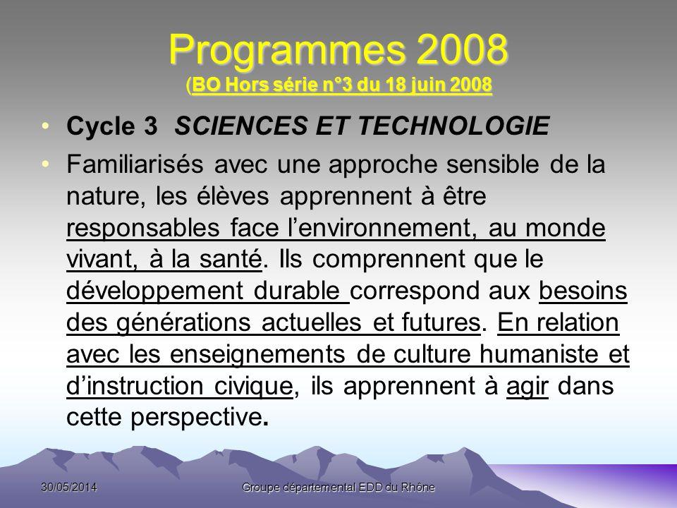 Programmes 2008 (BO Hors série n°3 du 18 juin 2008 Cycle 3 SCIENCES ET TECHNOLOGIE Familiarisés avec une approche sensible de la nature, les élèves ap