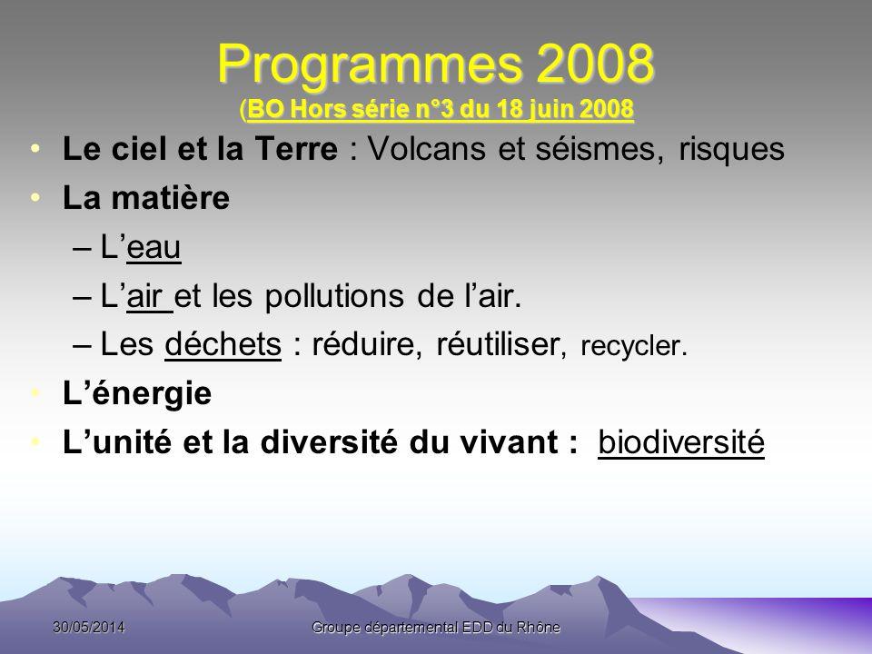 Programmes 2008 (BO Hors série n°3 du 18 juin 2008 Le ciel et la Terre : Volcans et séismes, risques La matière –Leau –Lair et les pollutions de lair.