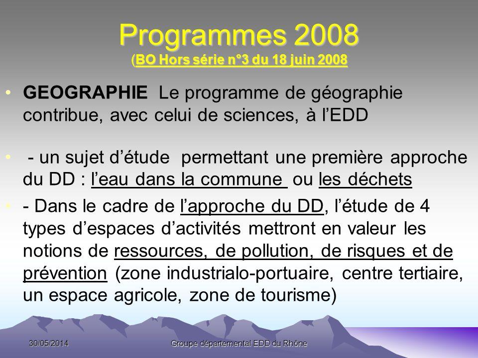 Programmes 2008 (BO Hors série n°3 du 18 juin 2008 GEOGRAPHIE Le programme de géographie contribue, avec celui de sciences, à lEDD - un sujet détude p