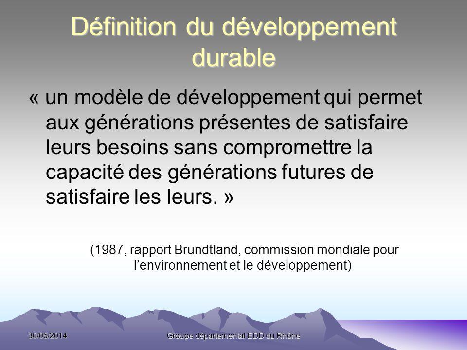 30/05/2014Groupe départemental EDD du Rhône Définition du développement durable « un modèle de développement qui permet aux générations présentes de s