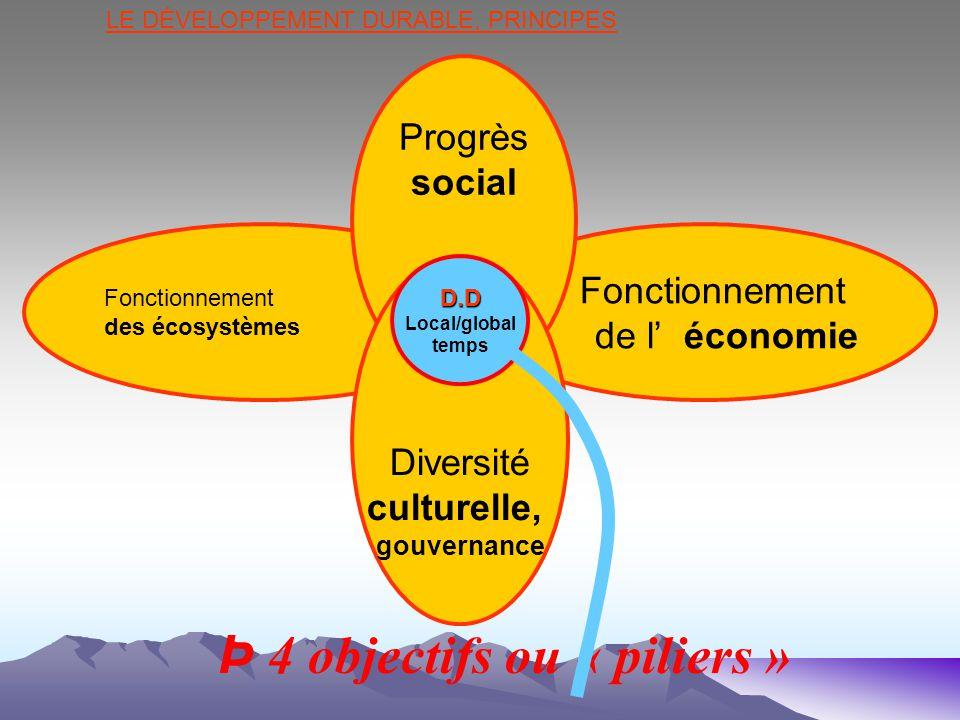 Þ 4 objectifs ou « piliers » LE DÉVELOPPEMENT DURABLE, PRINCIPES Fonctionnement des écosystèmes Fonctionnement de l économie Progrès social Diversité