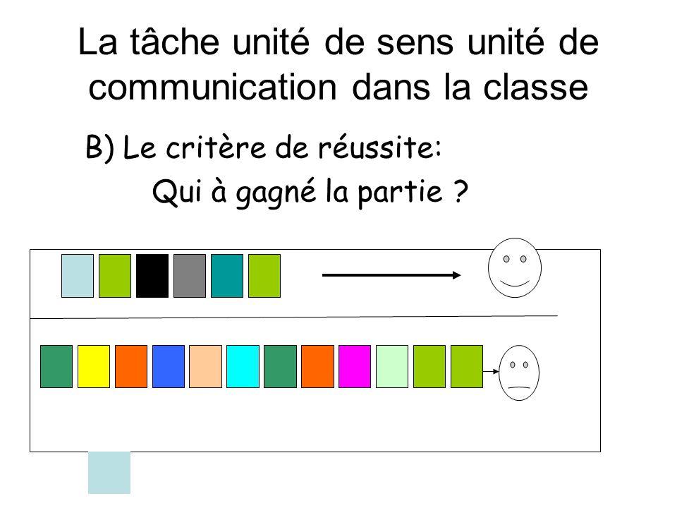 La tâche unité de sens unité de communication dans la classe B) Le critère de réussite: Qui à gagné la partie ?