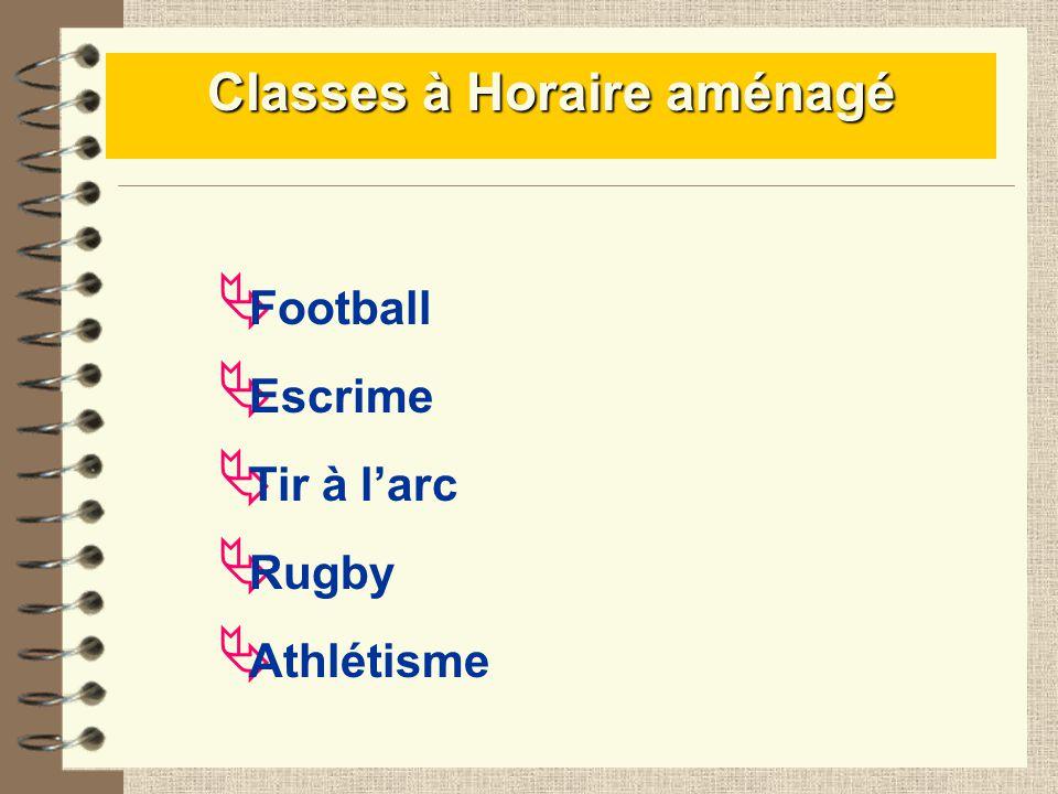 Classes à Horaire aménagé Athlétisme Football Escrime Tir à larc Rugby