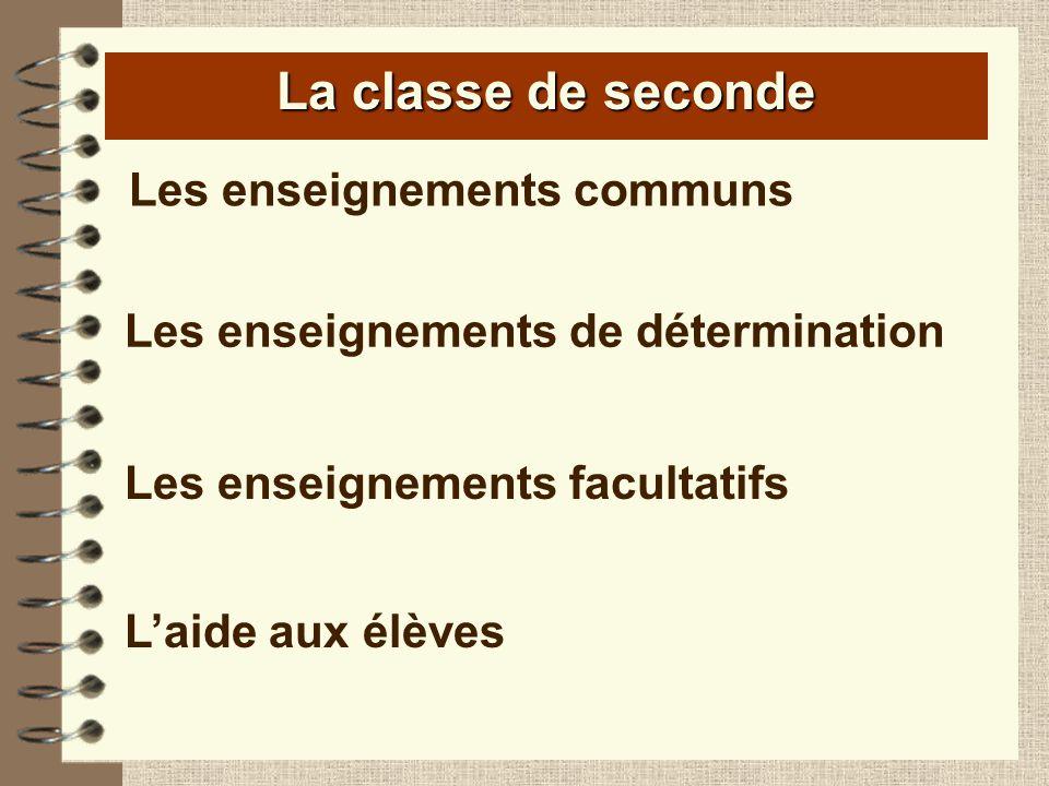 La classe de seconde Les enseignements communs Les enseignements de détermination Les enseignements facultatifs Laide aux élèves