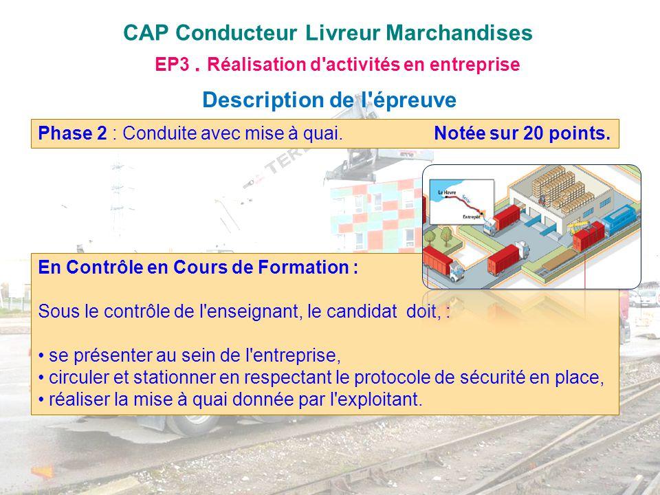 CAP Conducteur Livreur Marchandises EP3. Réalisation d'activités en entreprise Description de l'épreuve Phase 2 : Conduite avec mise à quai. Notée sur