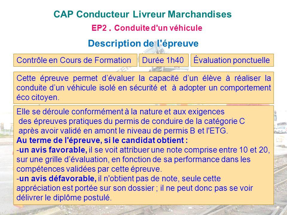 CAP Conducteur Livreur Marchandises EP2. Conduite d'un véhicule Description de l'épreuve Contrôle en Cours de FormationÉvaluation ponctuelle Cette épr