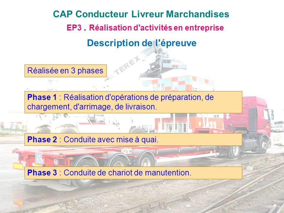 CAP Conducteur Livreur Marchandises EP3. Réalisation d'activités en entreprise Description de l'épreuve Réalisée en 3 phases Phase 1 : Réalisation d'o