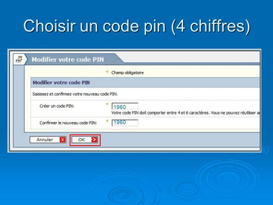 Choisir un code pin (4 chiffres) 1960
