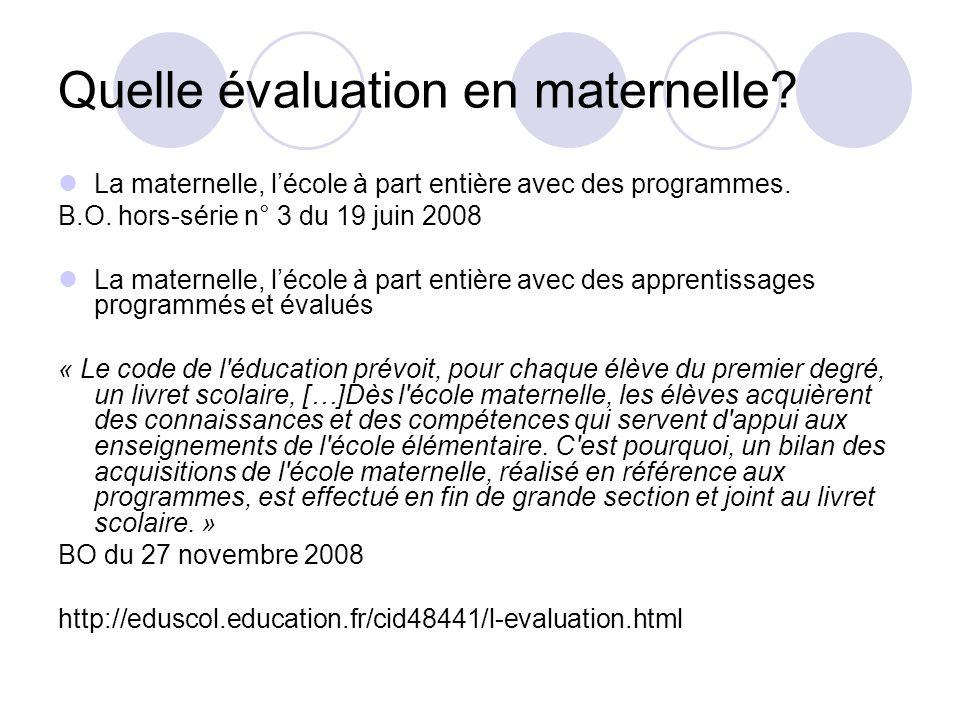 Quelle évaluation en maternelle.La maternelle, lécole à part entière avec des programmes.