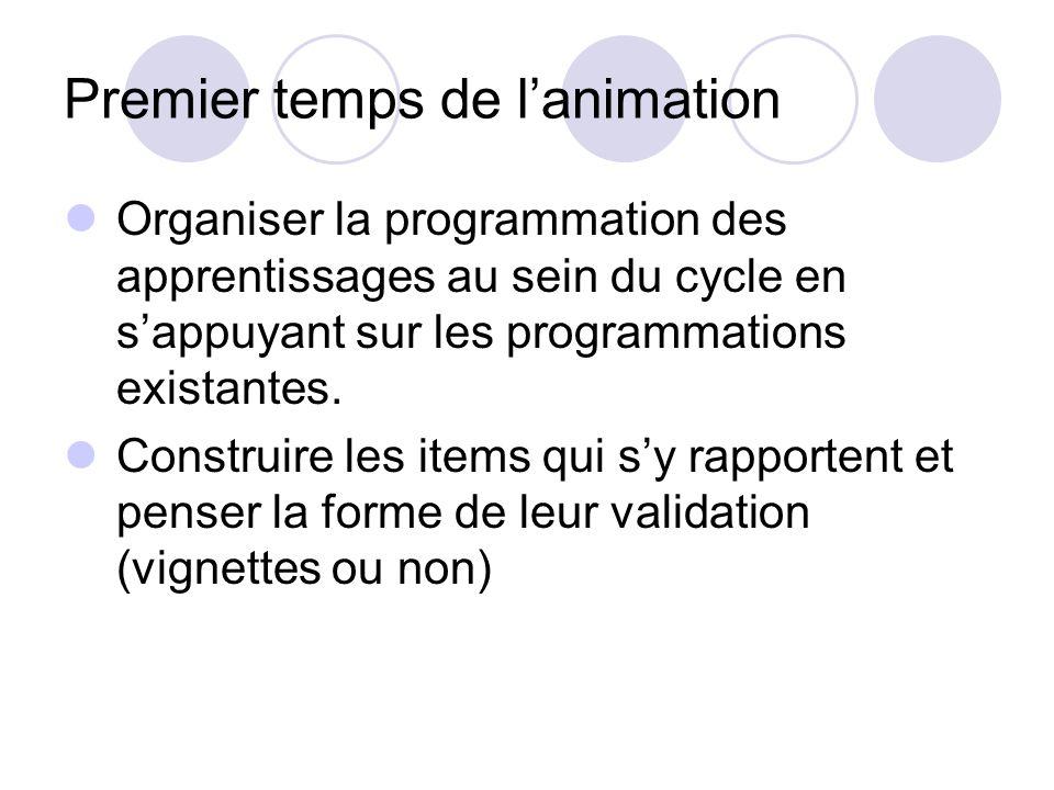Premier temps de lanimation Organiser la programmation des apprentissages au sein du cycle en sappuyant sur les programmations existantes.