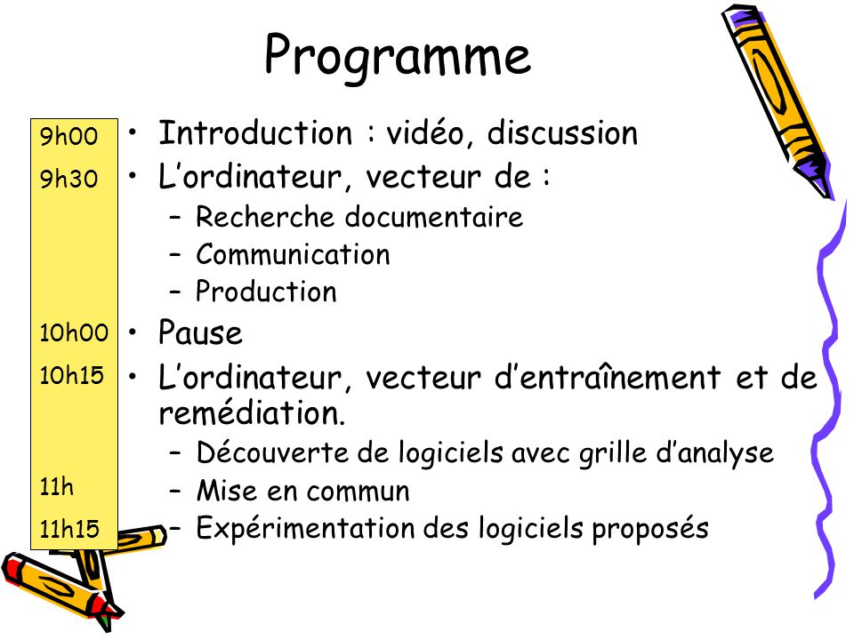 Programme Introduction : vidéo, discussion Lordinateur, vecteur de : –Recherche documentaire –Communication –Production Pause Lordinateur, vecteur dentraînement et de remédiation.