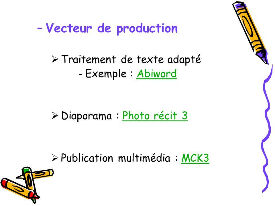 –Vecteur de production Traitement de texte adapté -Exemple : AbiwordAbiword Diaporama : Photo récit 3Photo récit 3 Publication multimédia : MCK3MCK3
