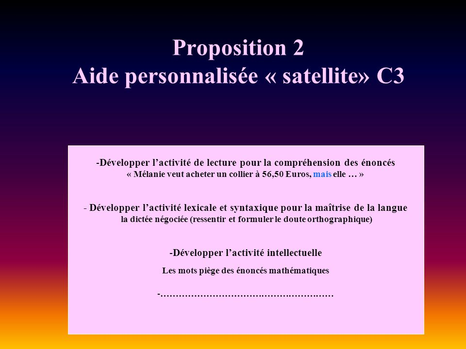 Proposition 2 Aide personnalisée « satellite» C3 -Développer lactivité de lecture pour la compréhension des énoncés « Mélanie veut acheter un collier à 56,50 Euros, mais elle … » - Développer lactivité lexicale et syntaxique pour la maîtrise de la langue la dictée négociée (ressentir et formuler le doute orthographique) -Développer lactivité intellectuelle Les mots piège des énoncés mathématiques -…………………………………………………