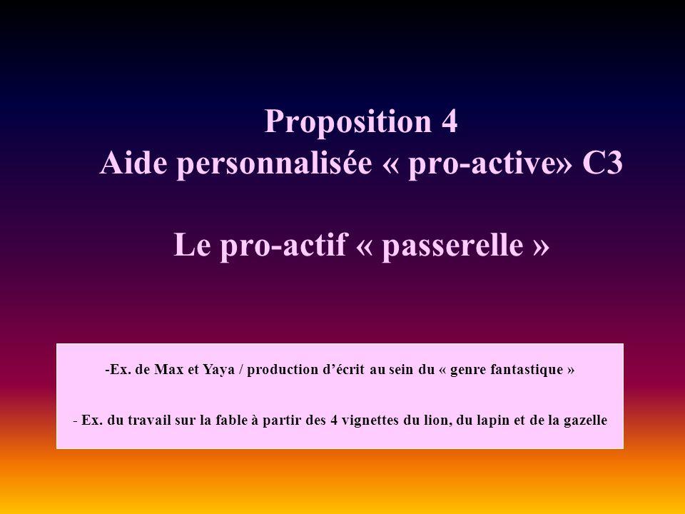 Proposition 4 Aide personnalisée « pro-active» C3 Le pro-actif « passerelle » -Ex. de Max et Yaya / production décrit au sein du « genre fantastique »