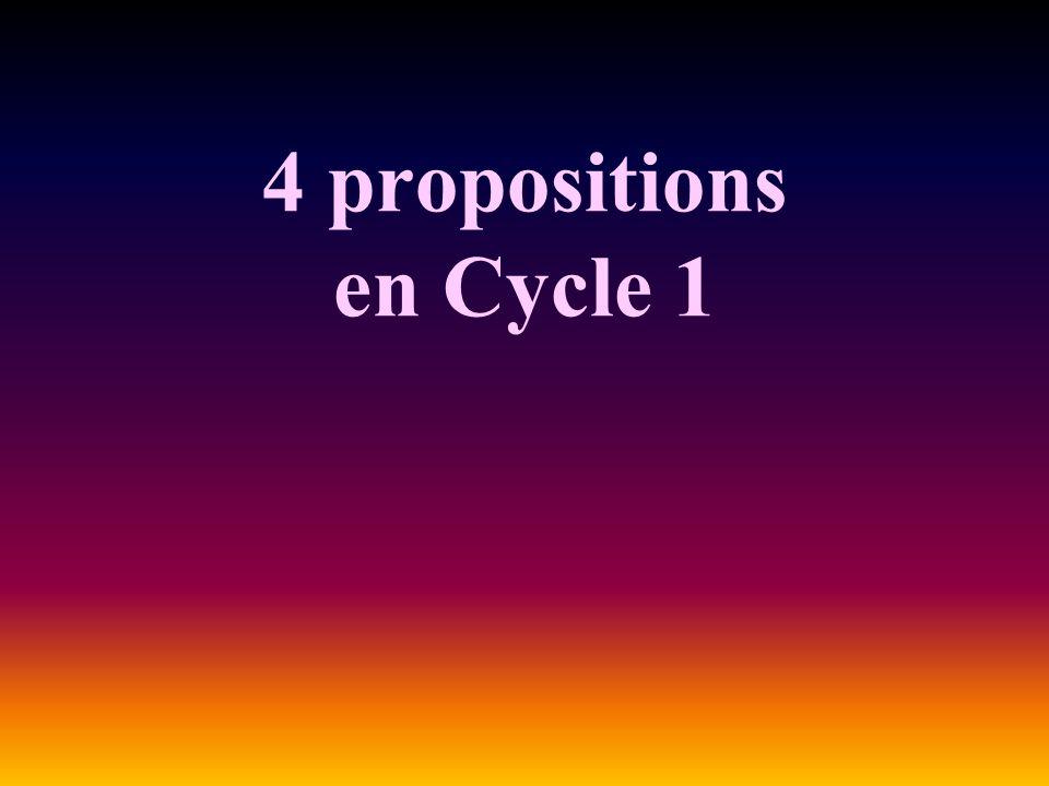 4 propositions en Cycle 1