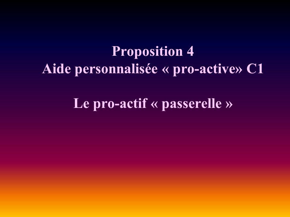 Proposition 4 Aide personnalisée « pro-active» C1 Le pro-actif « passerelle »