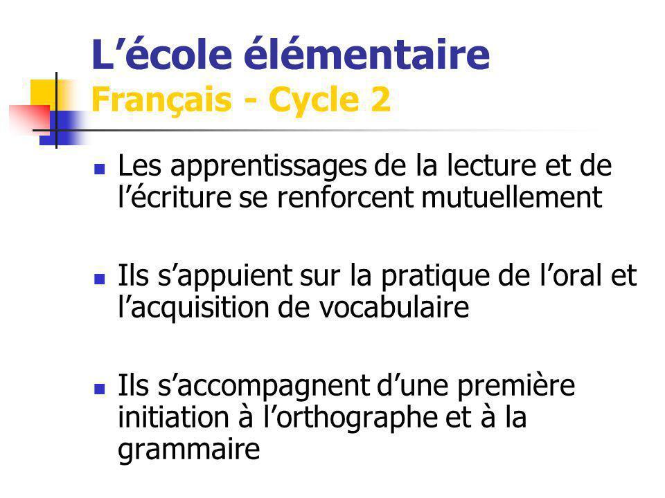Lécole élémentaire Français - Cycle 2 Les apprentissages de la lecture et de lécriture se renforcent mutuellement Ils sappuient sur la pratique de loral et lacquisition de vocabulaire Ils saccompagnent dune première initiation à lorthographe et à la grammaire