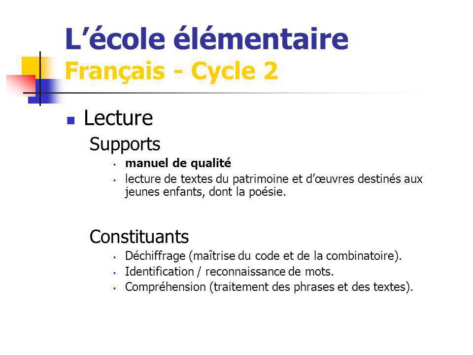 Lécole élémentaire Français - Cycle 2 Lecture Supports manuel de qualité lecture de textes du patrimoine et dœuvres destinés aux jeunes enfants, dont la poésie.