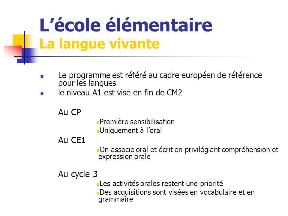 Lécole élémentaire La langue vivante Le programme est référé au cadre européen de référence pour les langues le niveau A1 est visé en fin de CM2 Au CP