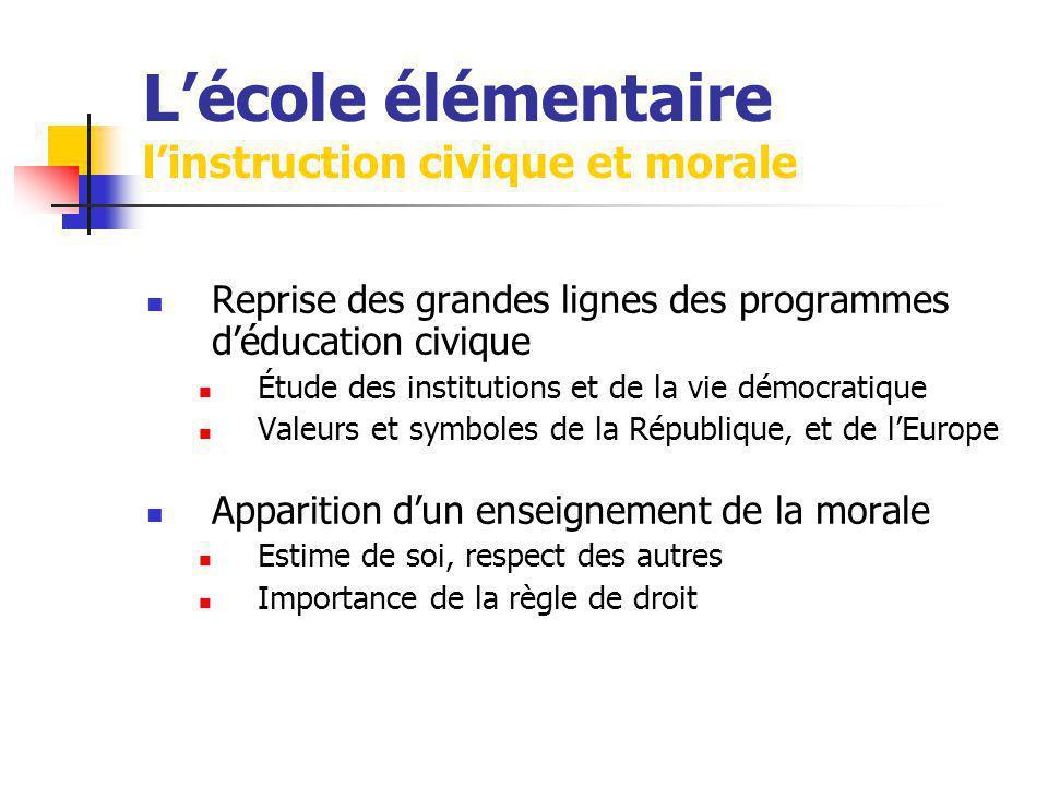 Lécole élémentaire linstruction civique et morale Reprise des grandes lignes des programmes déducation civique Étude des institutions et de la vie dém