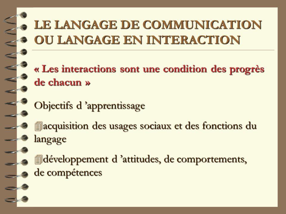 LE LANGAGE DE COMMUNICATION OU LANGAGE EN INTERACTION « Les interactions sont une condition des progrès de chacun » Objectifs d apprentissage 4 acquisition 4 acquisition des usages sociaux et des fonctions du langage 4 développement 4 développement d attitudes, de comportements, de compétences