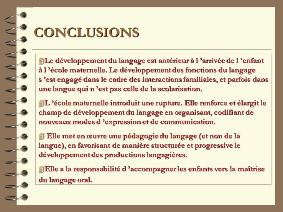 CONCLUSIONS 4 Le 4 Le développement du langage est antérieur à l arrivée de l enfant à l école maternelle.