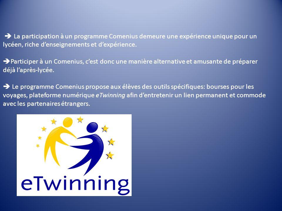 La participation à un programme Comenius demeure une expérience unique pour un lycéen, riche denseignements et dexpérience.