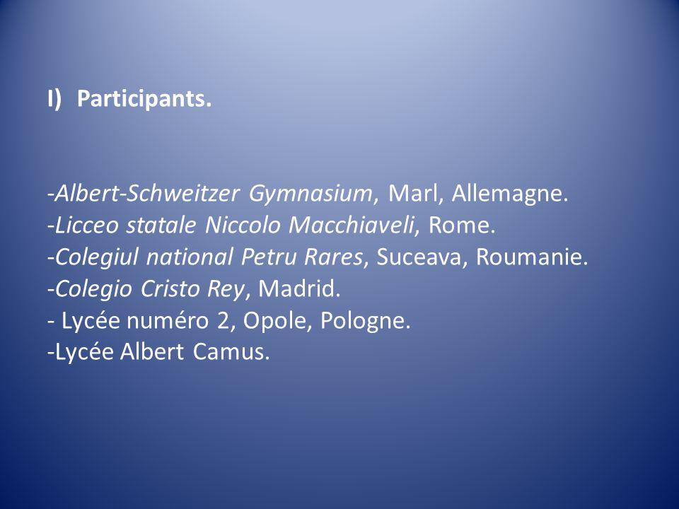 I)Participants. -Albert-Schweitzer Gymnasium, Marl, Allemagne.