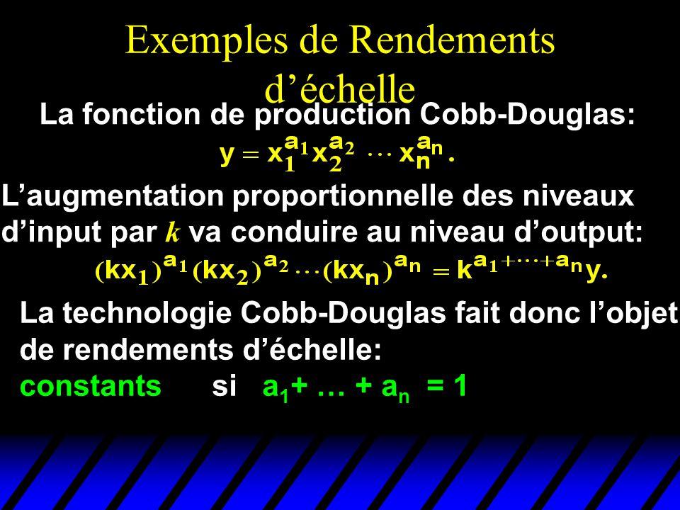 Exemples de Rendements déchelle La fonction de production Cobb-Douglas: Laugmentation proportionnelle des niveaux dinput par k va conduire au niveau doutput: La technologie Cobb-Douglas fait donc lobjet de rendements déchelle: constants si a 1 + … + a n = 1