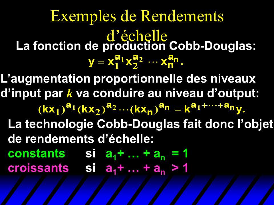 Exemples de Rendements déchelle La fonction de production Cobb-Douglas: Laugmentation proportionnelle des niveaux dinput par k va conduire au niveau doutput: La technologie Cobb-Douglas fait donc lobjet de rendements déchelle: constants si a 1 + … + a n = 1 croissants si a 1 + … + a n > 1