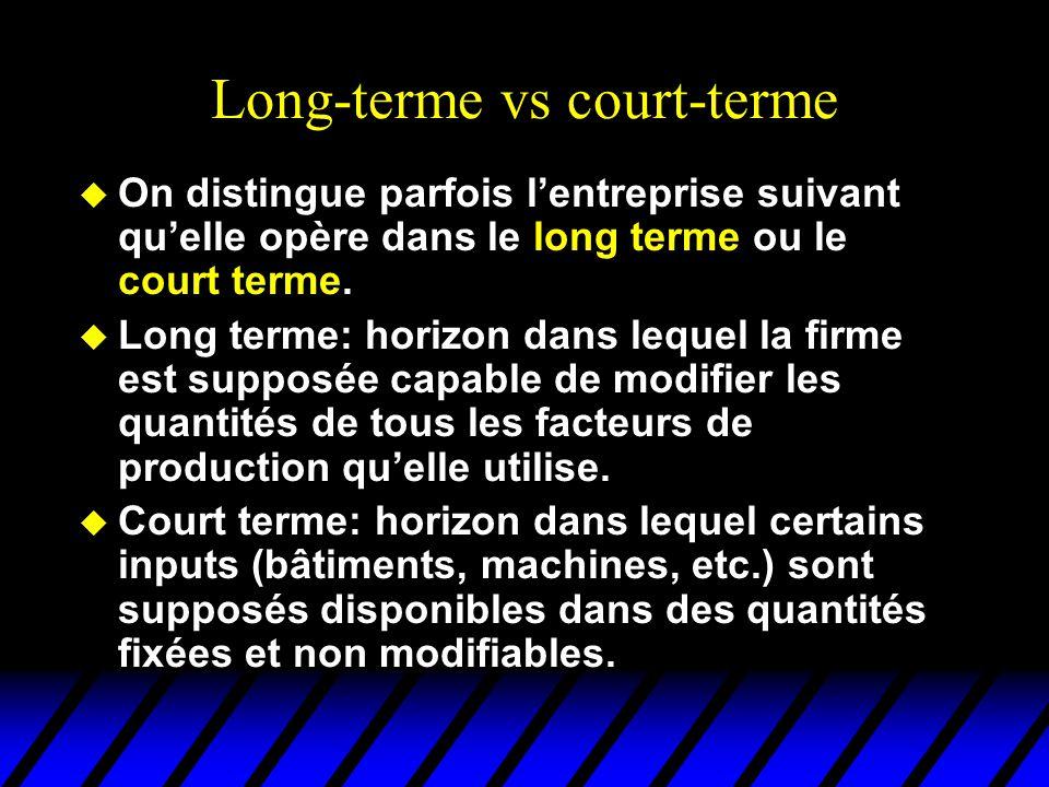 Long-terme vs court-terme u On distingue parfois lentreprise suivant quelle opère dans le long terme ou le court terme.