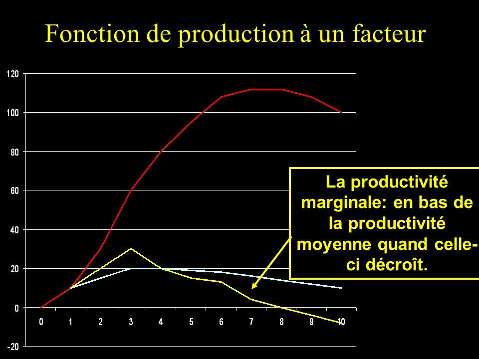 Fonction de production à un facteur La productivité marginale: en bas de la productivité moyenne quand celle- ci décroît.