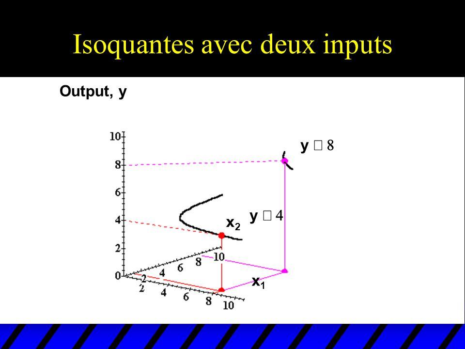 Isoquantes avec deux inputs Output, y x1x1 x2x2 y y