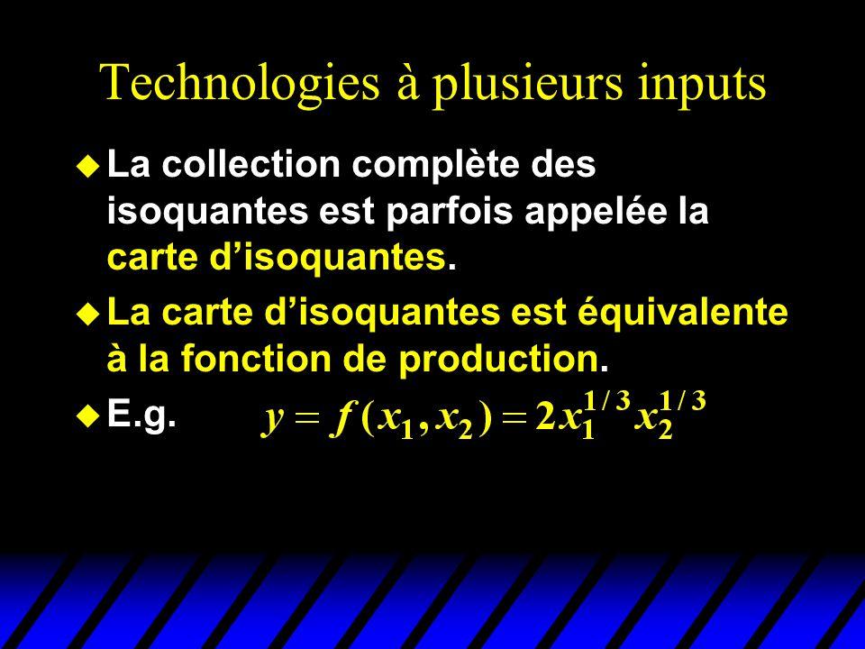 Technologies à plusieurs inputs u La collection complète des isoquantes est parfois appelée la carte disoquantes.