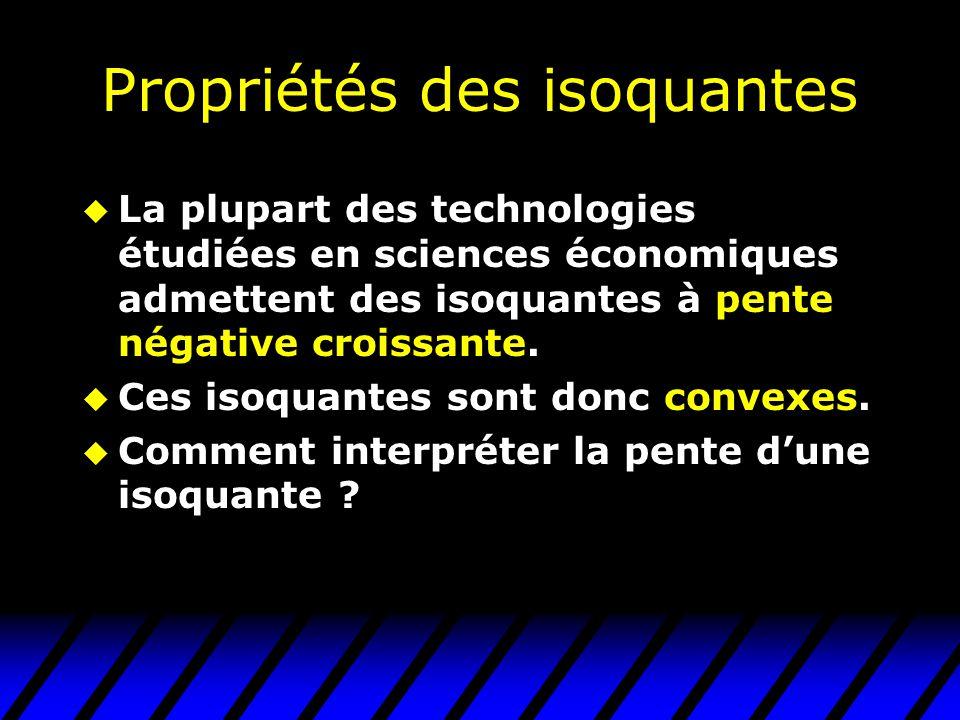 Propriétés des isoquantes u La plupart des technologies étudiées en sciences économiques admettent des isoquantes à pente négative croissante.