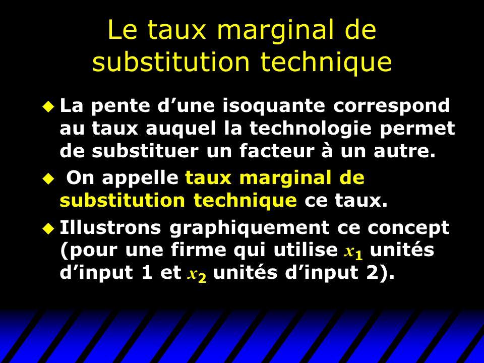 Le taux marginal de substitution technique u La pente dune isoquante correspond au taux auquel la technologie permet de substituer un facteur à un autre.