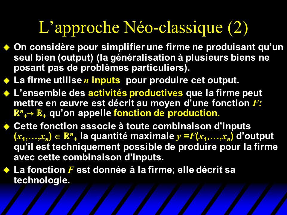 Fonction de Production à un output (cas général) y = F ( x ) x x Quantité dinput Quantité dOutput y y = F ( x ) est la quantité maximale doutput que peut produire la firme avec x unités dinput.