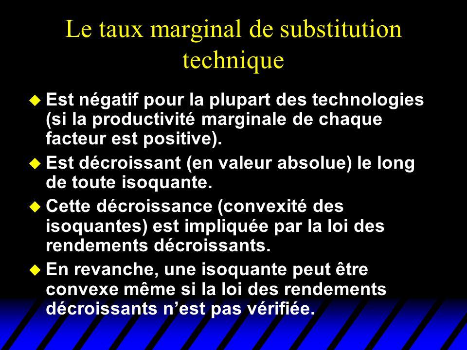 Le taux marginal de substitution technique u Est négatif pour la plupart des technologies (si la productivité marginale de chaque facteur est positive).