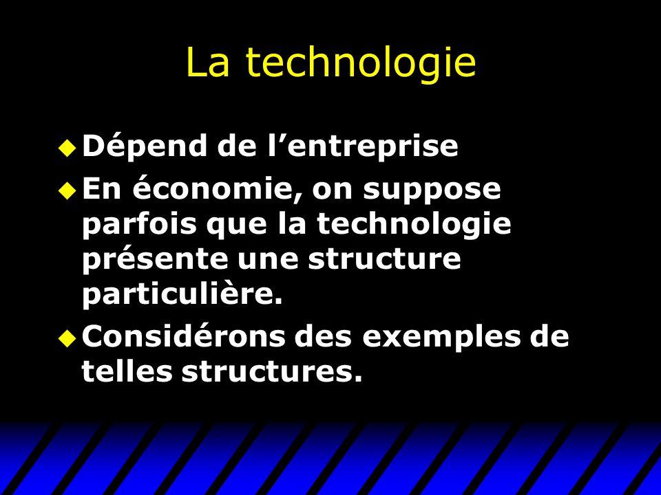 La technologie u Dépend de lentreprise u En économie, on suppose parfois que la technologie présente une structure particulière.