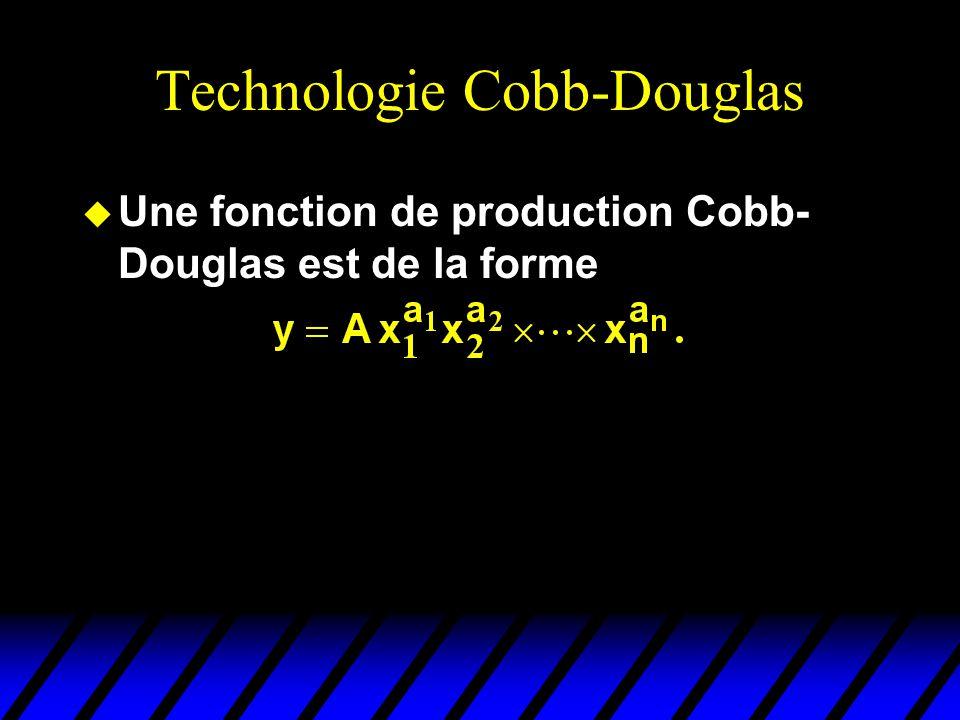 Technologie Cobb-Douglas u Une fonction de production Cobb- Douglas est de la forme